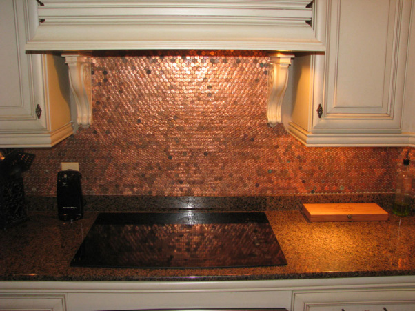 25 pretty penny projects to diy for Kitchen penny backsplash
