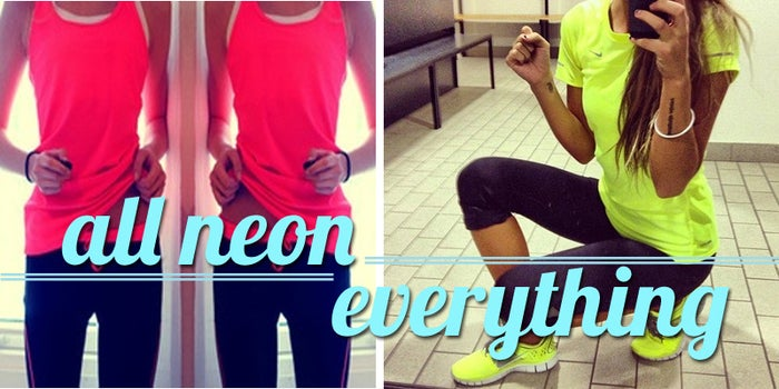All Neon Everything Says:I have to wear this or I won't go to the gymIf I skip the gym, at least I will still look good in these clothes at happy hourI have a spray tan membershipI never go to the gym aloneI had to remove the tags from everything on my body for this workout todayI wish it was Summer all year roundI use an enormous amount of emojis I checked in on foursquare, facebook and twitter