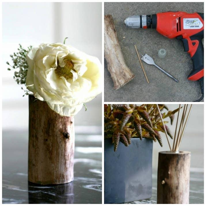 Inspirado en la Madre Naturaleza, convierte un tronco pequeño en un florero y difusor usando un taladro en el centro e insertando un candelabro o florero pequeño. Lee las instrucciones completas aquí.