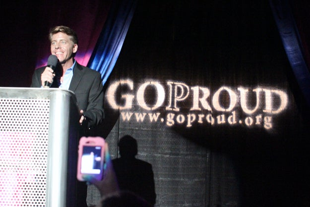 Jimmy LaSalvia addresses the crowd at the group's Homocon party at the 2012 Republican National Convention.