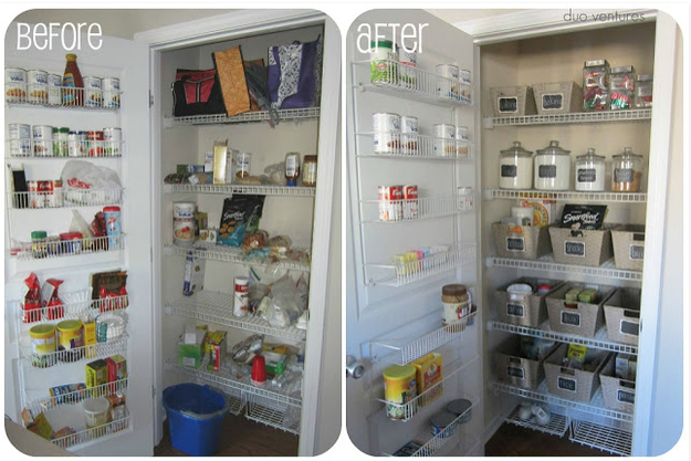 Reorganize your pantry by food type.
