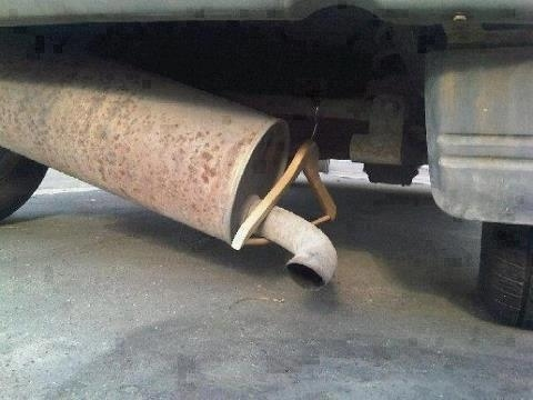 Clothes Hanger Muffler Fix