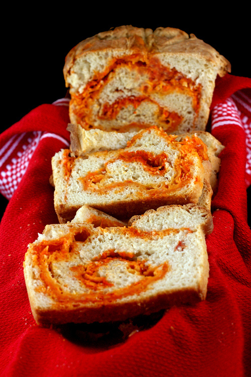 Sriracha-Cheddar-Pepperjack Swirl Bread