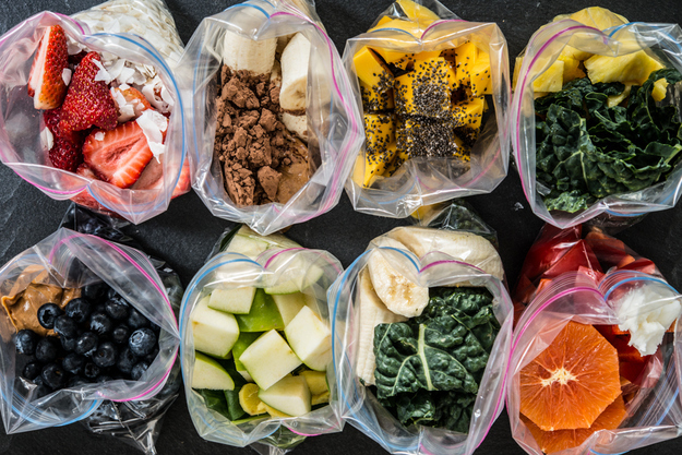 Freeze all the ingredients for a smoothie in a ziploc bag so it is ready to make in the morning.