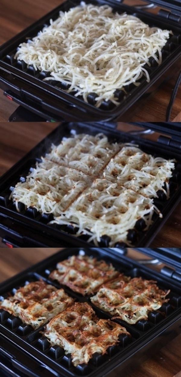 Make crispy hashbrowns in a waffle iron.