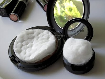 Place an extra cotton pad or ball into your powder cosmetics to keep them from breaking.