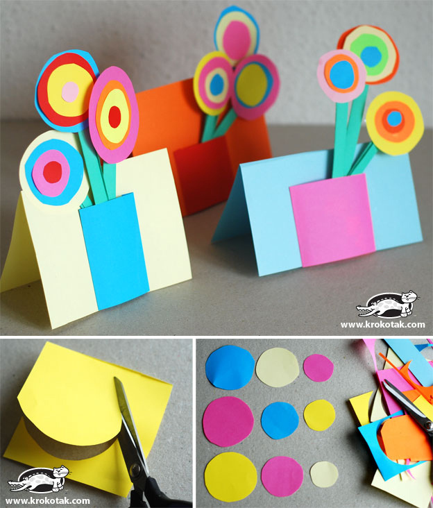 Paper Craft Ideas For Kids Under 5 Part - 50: Put A Colorful Paper Bouquet On A Card.
