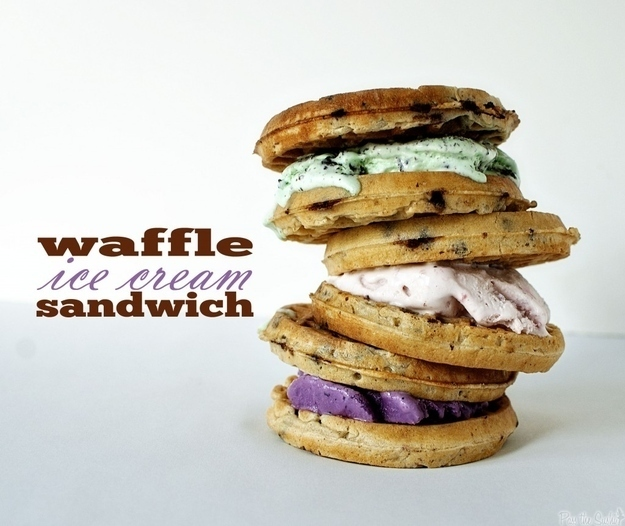 Make an ice cream sandwich out of a waffle.