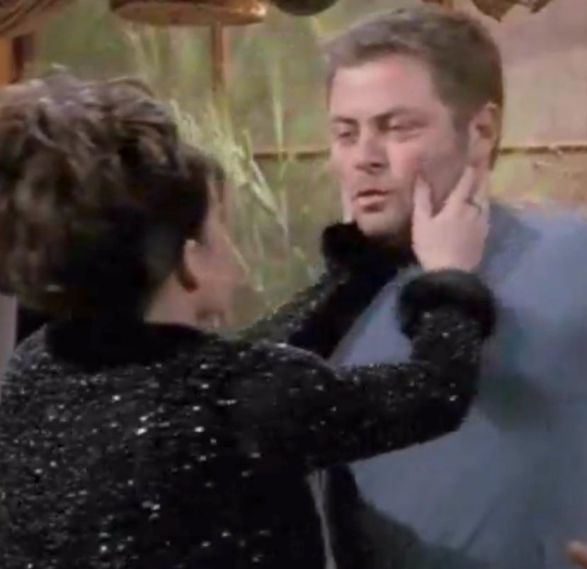 Mullally (as Karen Walker) and Offerman (as Nick the Plummer) on Will & Grace