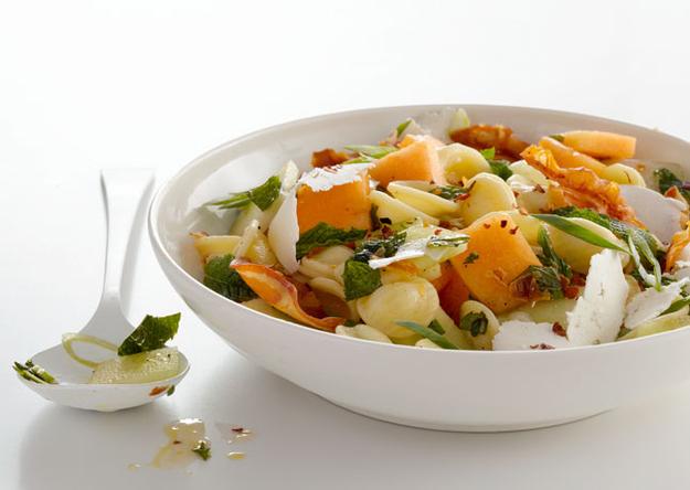 Pasta Salad with Melon, Pancetta and Ricotta Salata
