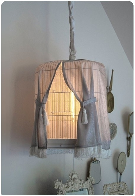 DIY Birdcage Lamp with Curtains