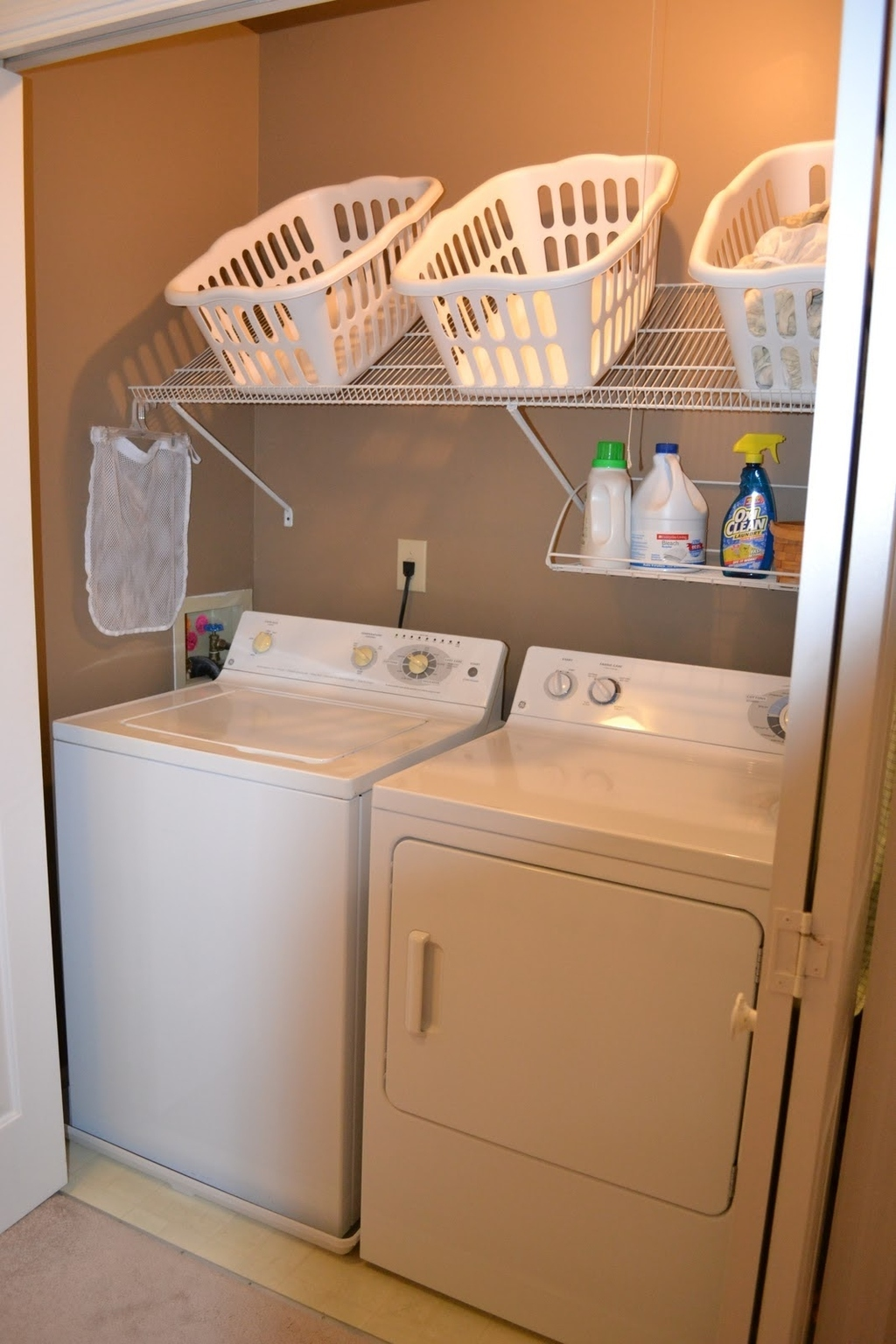 Flip A Wire Shelf Over And Install At An Angle As A Place To Keep Your  Storage Bins.