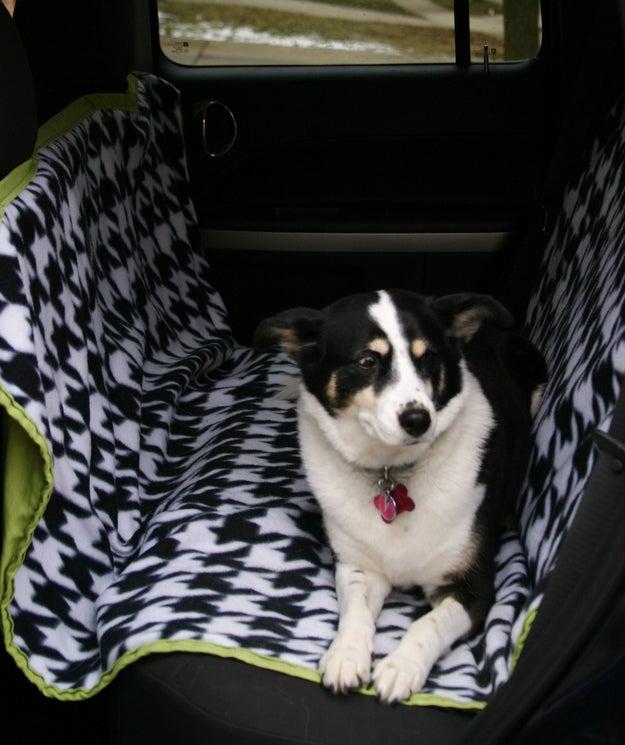 A rede evita que o cão se machuque caso ele ou ela caia devido à uma freada ou aceleração brusca. Pegue o molde aqui.