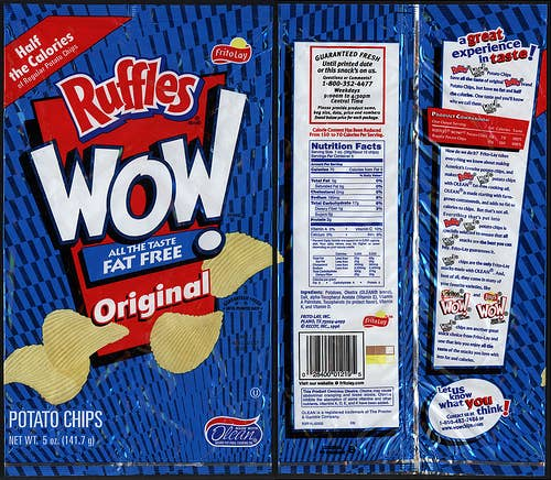 Found in: Fat-free potato chips, corn chips, and French fries. Why it's dangerous: Created by Procter & Gamble as a substitute for cooking oil, Olestra robs your body of its ability to absorb vitamins. Fun side effects include cramps and leaky bowels. Where it's banned: The U.K. and Canada.
