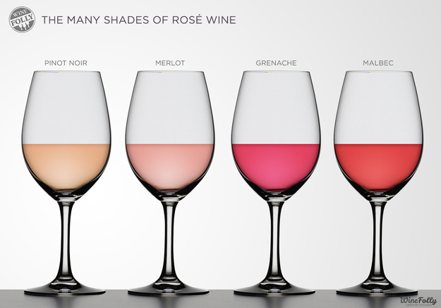The longer the grapes' skins are left sitting in the wine, the darker the color of the finished rosé.