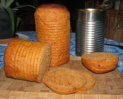 Make tin-can sandwich bread as a portable food option.