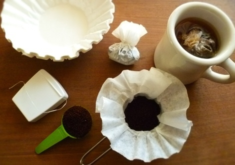 Make travel coffee bags out of coffee filters and dental floss.