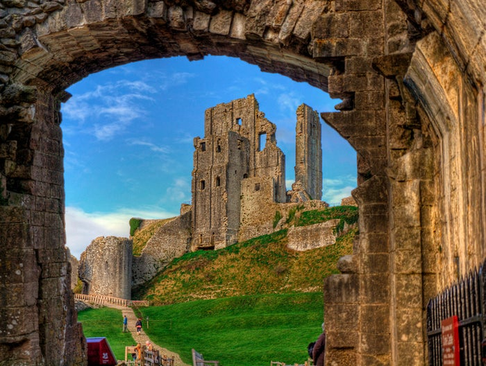 Corfe Castle is a fortification that dates back to the 11th century, designed by William the Conquerer.