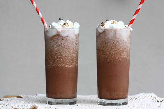 Drink frozen hot chocolate.