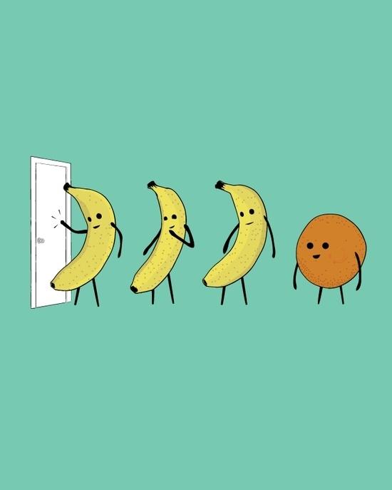 Three Bananas and an Orange