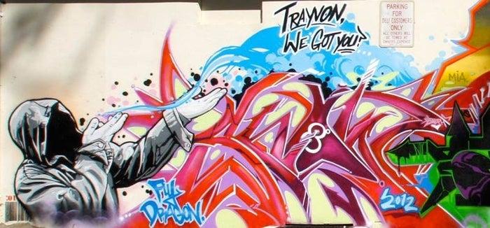 "Graffiti artists Carmelo ""Snow"" Sigona, ""Mr. Mustart,"" and Ray ""Demer"" Llopez of Fly Dragon Studio."