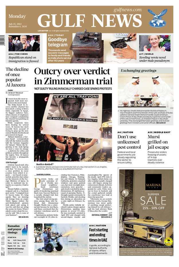 Zimmerman Trial Verdict Makes Front Pages Around The World