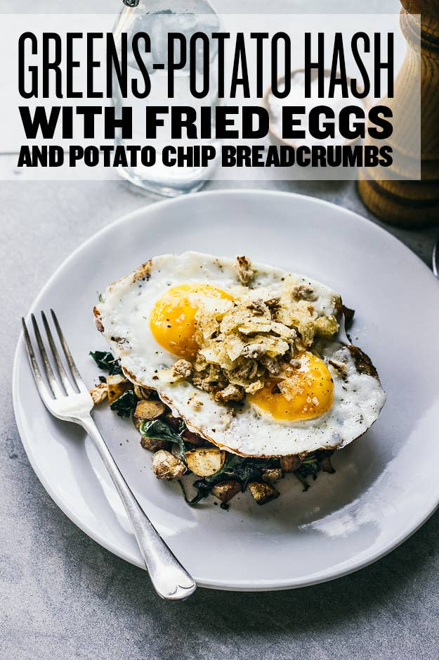 Greens-Potato Hash with Fried Eggs and Potato Chip Breadcrumbs | Delicious & Easy Fall Recipes I Homemade Recipes | Cozy Dinner Ideas