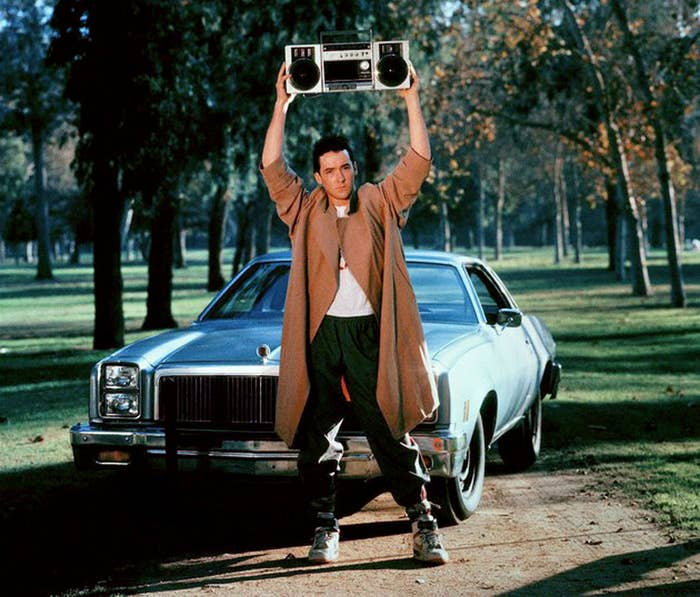 """Obviously he would be there to profess his love for you, and to blast """"In Your Eyes"""" by Peter Gabriel. What else?As seen in Say Anything (1989)."""