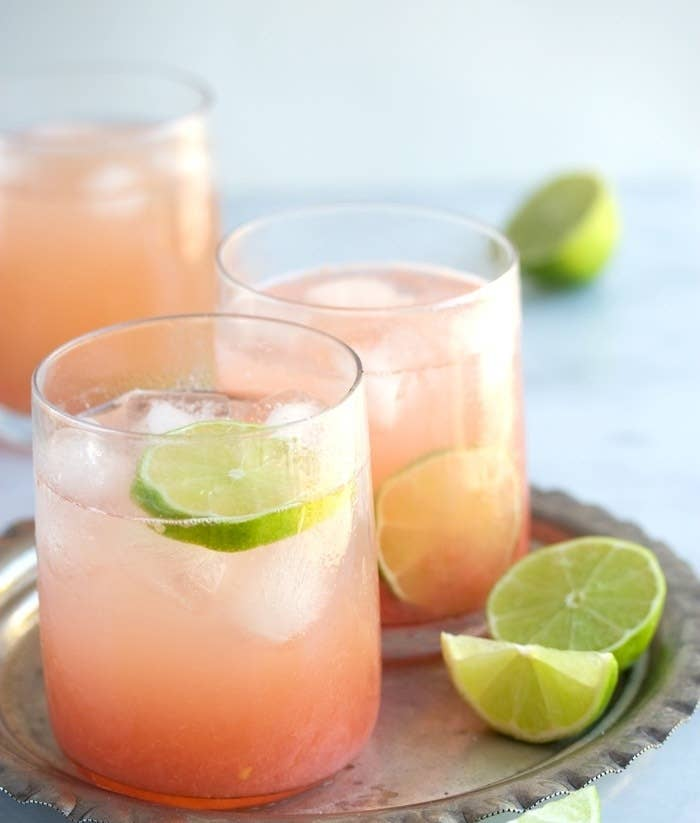 """Top one or two shots of tequila with grapefruit soda. The classic brand to use is grapefruit-flavored (""""Toronja"""") Jarritos, but you could try it with any brand you like, or DIY with grapefruit juice, seltzer, and simple syrup. Garnish with a lime wedge."""