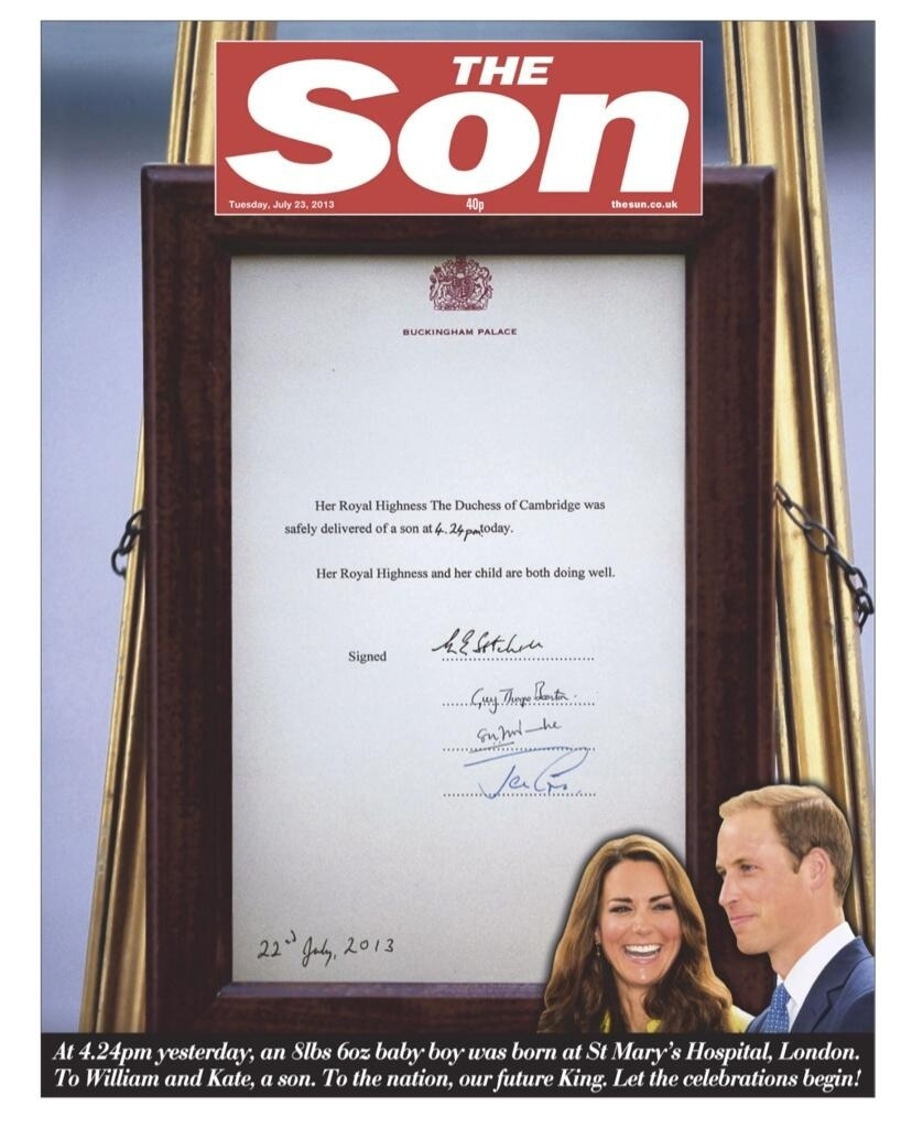 Royal Baby's Birth Celebrated On Newspaper Front Pages
