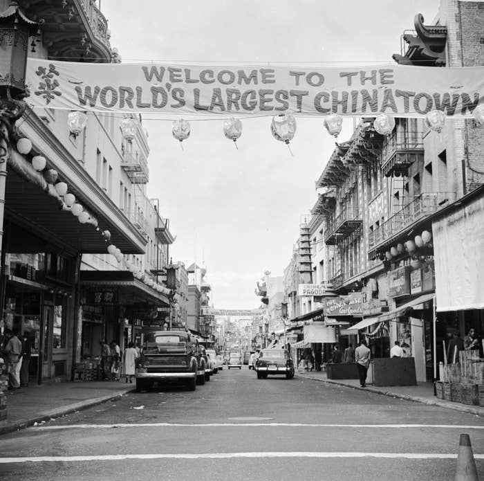 A banner on Grant Street, San Francisco, welcomes visitors to Chinatown.