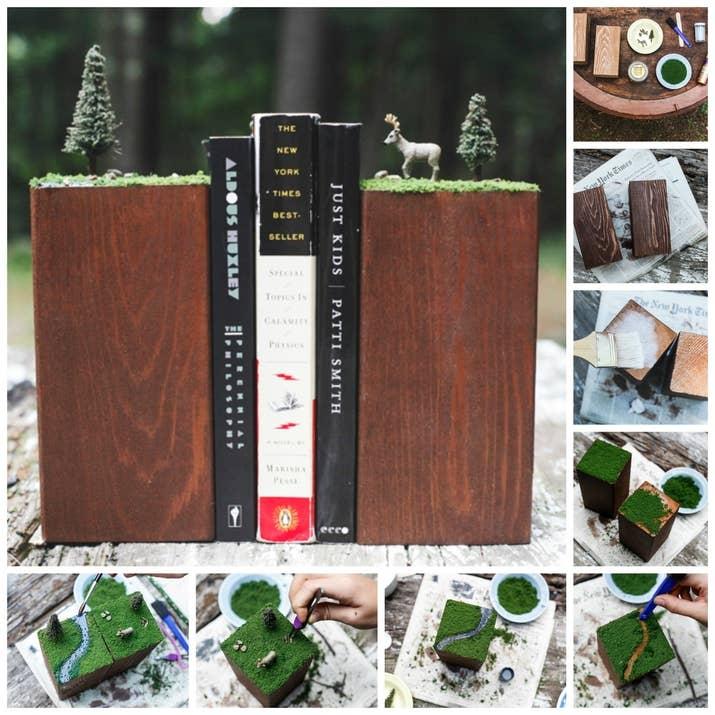 23 lovely diy bookends to adorn your shelves 1 woodland dioramas solutioingenieria Gallery