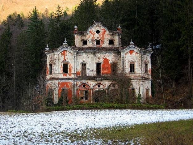 "Located in the mountains east of Lake Como in Italy, the Baroque house ""Villa de Vecchi"" is known locally as the Ghost Mansion. The building has been derelict for years and was allegedly the scene of a murder or suicide."