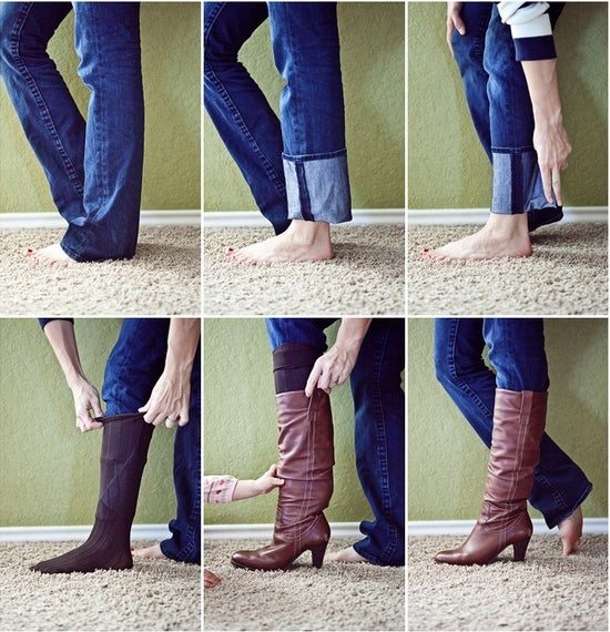 Just fold the bottom of your jeans and wrap it over to easily fit in socks.