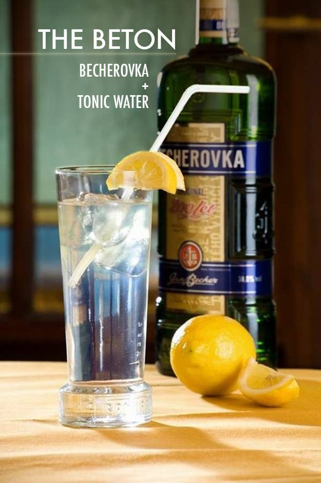 Becherovka is a spicy, bittersweet Czech liqueur (made with a unknown but delicious muddle of herbs and spices) that's started to pick up steam in the U.S. It's very refreshing when you top one or two shots of it with tonic water and garnish with a lemon wedge.