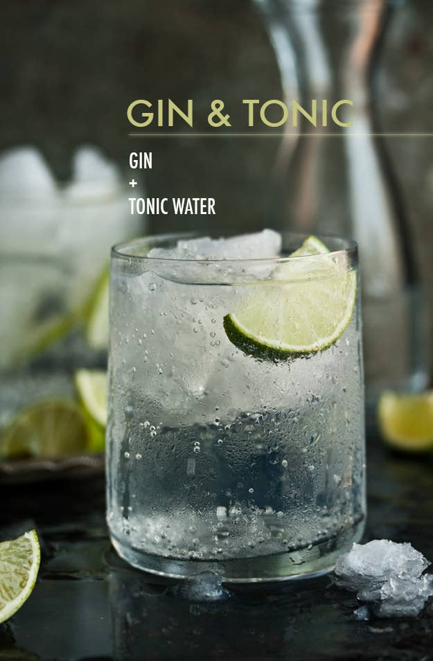 Top one or two shots gin with tonic water and garnish with a lime wedge. Duh.
