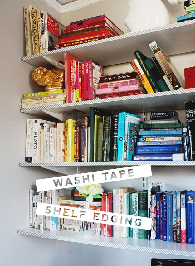 Washi tape (colored paper tape) is your new best friend when it comes to dorm decorating. Like painter's tape, it removes without residue, meaning it's perfect for temporarily decorating lackluster dorm furniture.Learn how to line your shelves with it here.