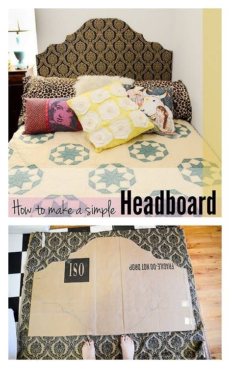 This super easy headboard is made from stuff you probably have lying around and makes a