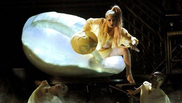She'll emerge from an egg - Lady GaGa style.