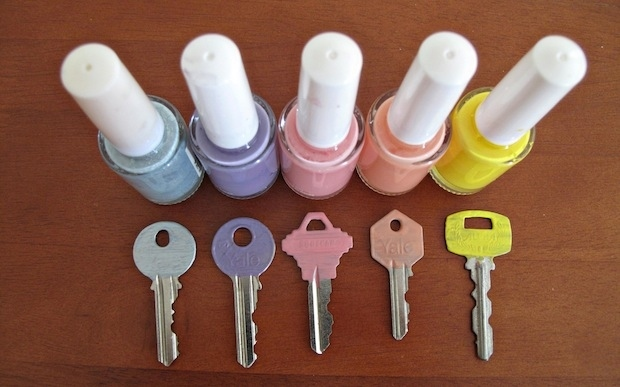 Paint your keys with nail polish to easily distinguish the sets.