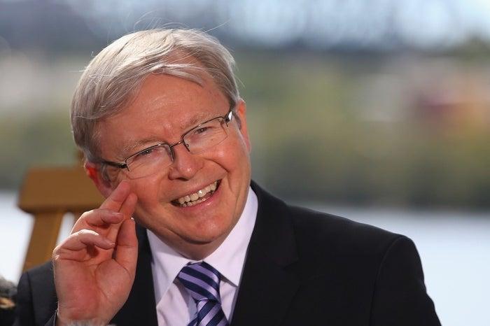Prime Minister Kevin Rudd speaks during a media conference at the Botanic Gardens on Aug. 6, 2013, in Brisbane, Australia.