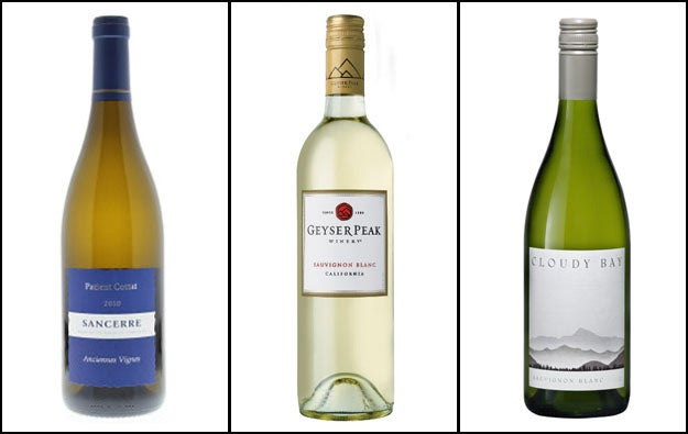 """Sauvignon Blancs are medium bodied and light yellowish-green in color. While generally made """"dry,"""" meaning there is no actual sugar in the wine itself, fruity flavors (like citrus, pear, and tropical fruits) can trick the tongue into perceiving sweetness. Herbacious flavors are also common, like green pepper or grass. Its high acidity makes it crisp and refreshing.*Not all wine made from Sauvignon Blanc grapes uses that for a name. In France, they often call wines by the name of their region rather than the grape used — for example """"Sancerre,"""" which is a Sauvignon Blanc named after the Sancerre region."""