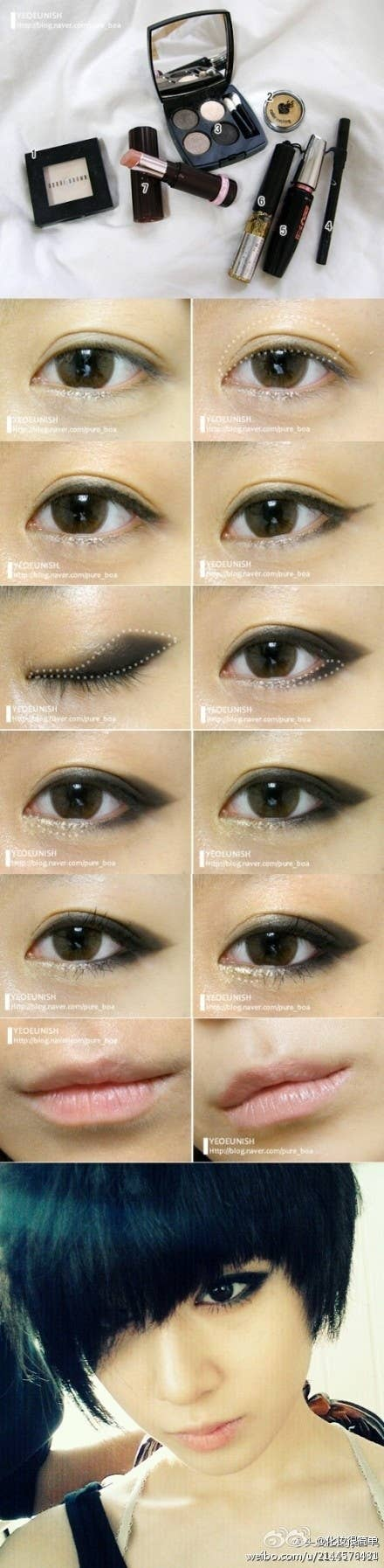 19 awesome eye makeup ideas for asians apply black eyeshadow in a whale shape to create this winged smoky eye look baditri Choice Image