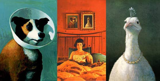 The paintings on Amélie's walls are by German artist Michael Sowa, whose prints and posters you can buy here.
