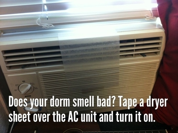 Keep your dorm room or apartment smelling fresh and clean with a dryer sheet.
