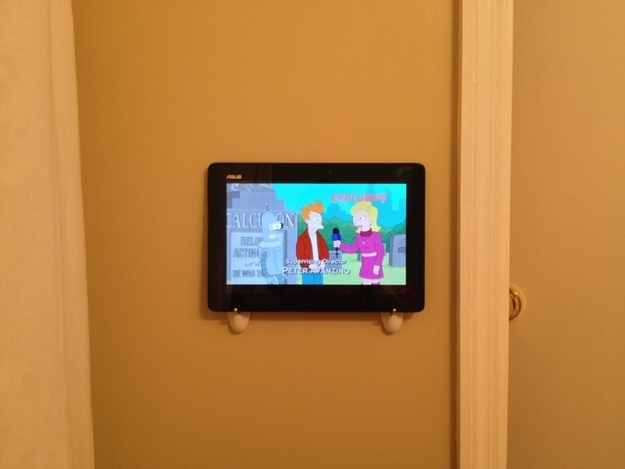 Use 3M hooks to mount a tablet wherever you want.