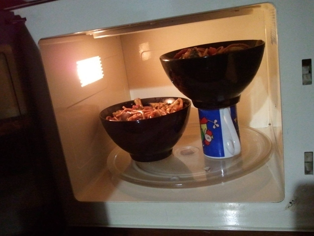 Heat two bowls at once in the microwave with this handy trick.