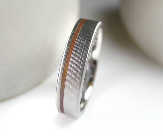 Copper Inlay Wedding Band 229