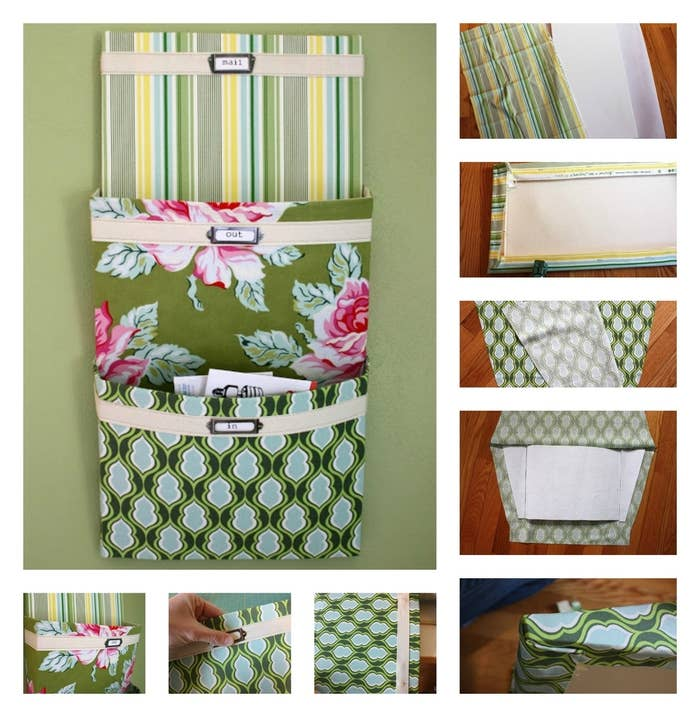 Cover cereal boxes with pretty fabrics, add a strip of cotton twill tape and labels, and stack them on the wall for a nifty organizer. The full tutorial is here.