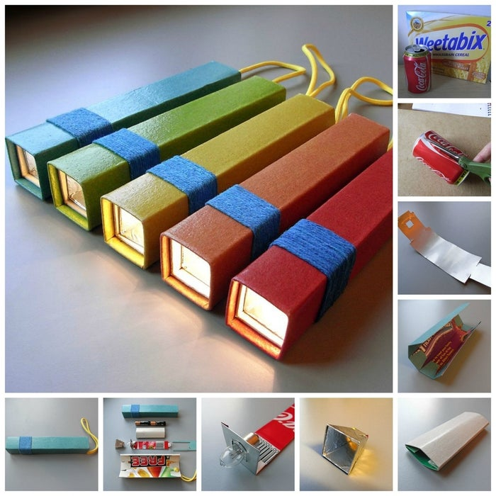 You can turn a cereal box, soda can, and torch bulb into a little flashlight with some basic folding and cutting. This step-by-step tutorial shows you how.